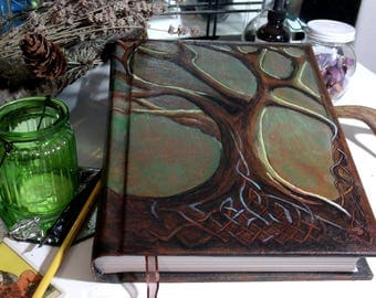 World Tree 300p Large Hand Painted Sketchbook, Celtic Tree Blank Book of Shadows