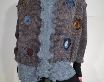 women's sweater, shirt woman, upcycled wool sweaters, shirt, Wool Sweater, three quarter sleeve, recycled sweater jumper with recycled fabric