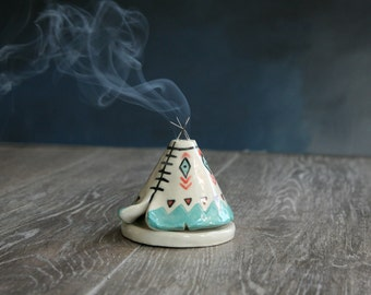 Incense Burner TeePee that smokes, Ceramic Teal Black Design, Native American Indian Aztec Design, Stoneware Clay Pottery, Unique Yogi Gift