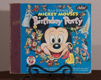 Very Rare Vintage Mickey Mouse's Birthday Party Record Reader Album, 1953 Walt Disney's Read Along Records