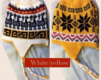 REVERSIBLE Trapper Alpaca Hats,Fair Isle Knit Hats,Multicolored shades of Peruvian Alpaca,My Peruvian Treasures Artisan Accessories