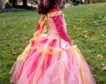 Pink Yellow Princess Tulle Dress, Fancy Tutu Belle Dress for Girls, Toddlers, and Infants