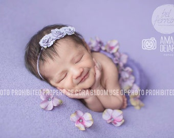 Flower Headband, Purple Flower Headband, Purple Flower, Purple Headband, Baby Headband, Newborn Headband, Photography Prop, Newborn Props