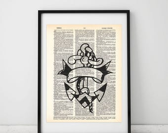 Anchor Old school, Tattoo Art print, Old school art, Recycle art, Dictionary page, Book art, Vintage print, Tattoo Wall Art #003