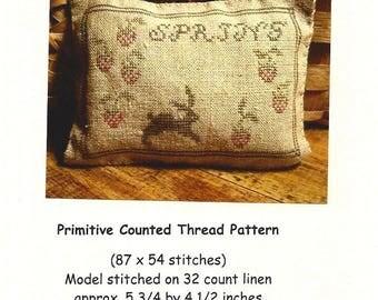 PrimitiveBettys - Strawberries and Bunny Pinkeep - Primitive Counted Thread Pattern - Designer Betty Dekat