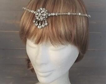 Vintage Rhinestone Circlet Headpiece, Vintage Forehead Band, Art Deco Flapper Headpiece, Gatsby, Bridal Halo, Wedding Circlet, 1940's, OOAK