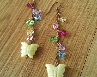 Butterfly earrings, earrings with yellow jade and Swarovski flowers & butterflies, long dangle gemstone earrings, Faeriejems