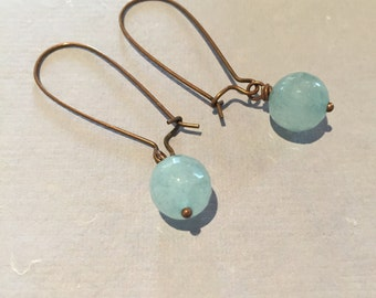 Aquamarine and Antiqued Copper Earrings