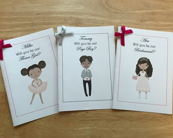 A6 Personalised Will you be our Page Boy, Ring Bearer, Flower Girl, Bridesmaid Card,Invite, Wedding,Invitation