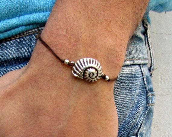 Nautilus Shell, Unisex Bracelet, Silver Spiral Shell Charm, Cord Bracelet For Men, Gift for him, her, Unisex Jewelry, Adjustable