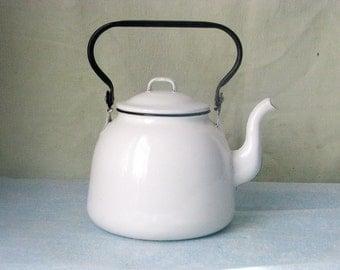 Soviet vintage farmhouse white enamel Kettle tea pot - Home decor - Made in USSR