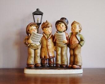 Goebel MI Hummel Harmony in Four Parts Porcelain Figurine in Original Box, 10 Inch Christmas Carolers Caroling, W Germany Century Collection