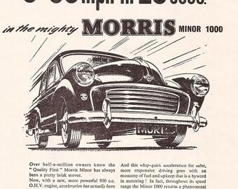 Morris Minor Car Print 1957, Advertising Wall Art
