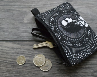 edgar allan poe // tales of mystery and imagination- lined twill coin purse - double sided print -  harry clarke illustration