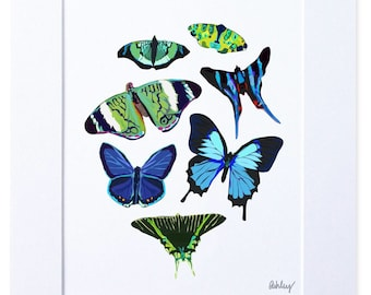 Digital Illustration, Blue Butterfly Print