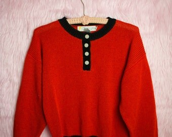 Chaus Red Sweater with Buttons