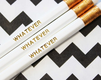Funny foil engraved pencil, whatever gift, funny stationery, Whatever pencil gift set