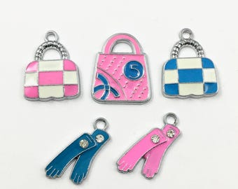 5 handbag and gloves silver tone and enamel charms, 22mm to 25mm# ENS A 047