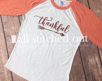 Thanksgiving Shirt - Custom 3/4 Sleeve Raglan Thankful Shirts - Glitter Arrow - Thankful Raglan - Glitter Raglan - Fall Shirt - Blessings