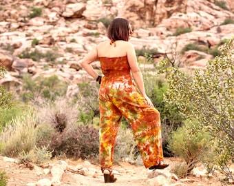 Tie Dye Jumper, Trippy Ladies Resort Romper, Flowy Hippie One-Piece Vacation Clothes