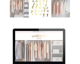 Logo Gold Foil Branding Kit Premade Photography Blogger Etsy Shop Logo Boho Feminine