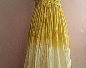 90s Indian Gauze Cami Maxi Dress - Summer Cotton Sun Dress - Yellow Ombre Cotton Dress - S - M or  Maternity