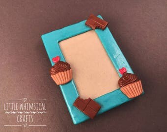 OOAK Cupcake Picture Frame, Polymer Clay Picture Frame, Picture Frame