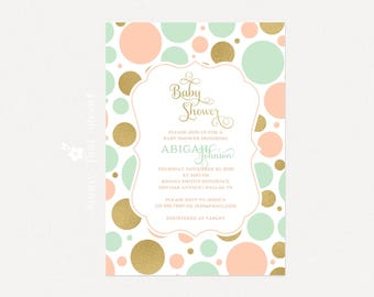 Baby Girl Shower Invitation | DIY Printable Baby Shower Invitation | Mint Peach Gold Polka Dots Baby Shower Invite