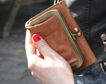 Evanna Small Clip Wallet Tan Leather