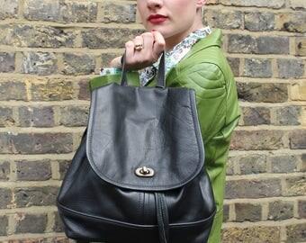 Barcelona Backpack Black Leather