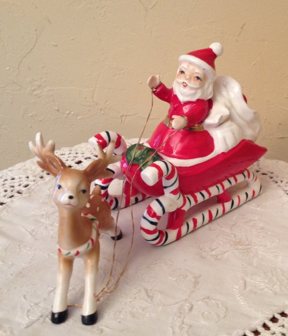 Vintage Santa Claus With Sleigh And Reindeer Great
