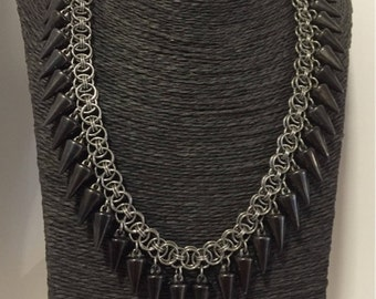 Steel Chainmaille Necklace, Helm Chain Jewelry, Antique Spike Choker, Cosplay Necklace, Renaissance, Goth Jewellery, Statement Necklace