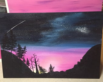 Aurora Borealis Northern Lights Acrylic Painting