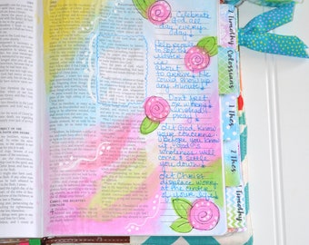 Bible Tabs with Laminating Stickers... WATERCOLOR set... 66 Books of the Bible... Self Adhesive... Blue, Green, Purple, & Fuchsia