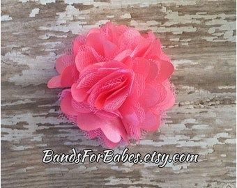 Neon Pink Satin and Tulle Flower Hair Clip, Pink Hair Bow, Girls Alligator Clip, Pigtail Clips, Barrette, Bright Pink Bow, Toddler Accessory