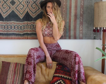 Moroccan print pant MAROON wide leg, flares, Cotton, Palazzo boho, hippie, festival