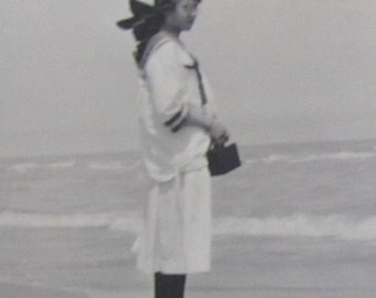 Sweet 1920's Beautiful Young School Girl On The Beach Along Lake Michigan Snapshot Photo - Free Shipping