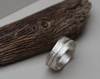 Silver ring with structure like bark Friendship ring Bandring Trauring Ehering Partnerring Sterling genuine jewelry from goldsmith