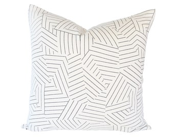 Deconstructed Stripe Black designer pillow cover - Miles Redd fabric for Schumacher - Made to Order - Choose Your Size
