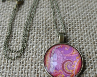 Hot Pink Paisley Pendant Necklace