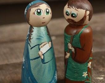 Mary & Joseph Peg Doll Set - Wooden Peg Nativity Set - Holy Family Peg Doll Set - Creche Scene Mary and Joseph - Baby Jesus, Mary and Joseph