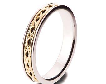 Vintage Wedding Band, Wedding Band, Two Tone wedding Ring, two tone Celtic ring, Vintage wedding band, knot ring, vintage ring, Yellow, 9