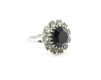 Vintage Sarah Coventry Ring, Black Faceted Stone, Rhinestones, Silver Tone, Adjustable, Signed