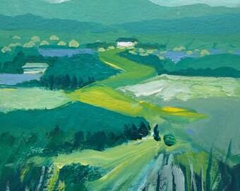Landscape Painting, Blue Ridge Mountains, Farmland, Clouds, acrylic on paper, gold, green, aqua