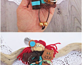 Brooch Doll With Brown Cat, Personalized Dolls, Brooch For Girl, Doll With Red Hair, Cloth Fabric Doll, Jewelry For Girl, Mini Doll