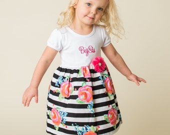 Big Sister Outfit - Black & White Striped Floral Dress - Baby Announcement - Baby Shower Gift - With Headband