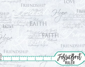 FAITH HOPE CHRISTIAN Fabric by the Yard, Fat Quarter Silver Gray Inspirational Love fabric Religious fabric 100% Cotton Quilting Fabric t2-4