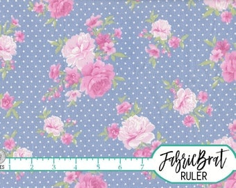 DUSTY BLUE PEONY Fabric by the Yard, Fat Quarter Shabby Chic Pink Floral & Dot Fabric Apparel Fabric 100% Cotton Fabric Quilting Fabric w3-9