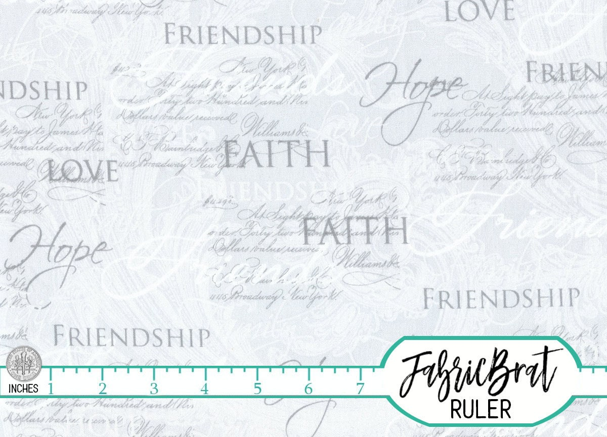 FAITH HOPE CHRISTIAN Fabric by the Yard, Fat Quarter Silver Gray ... : religious quilting fabric - Adamdwight.com