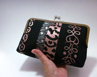 Clutch/ Black with cream and salmon pink / Obi bag/ Obi Purse / Vintage Kimono obi bag / Hand made/1